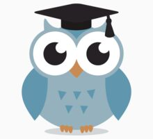 Blue owl with mortar board hat, cute cartoon illustration sticker by MheaDesign
