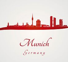 Munich skyline in red by Pablo Romero