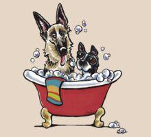 German Shepherd & Boston Terrier in the Bath T-Shirt
