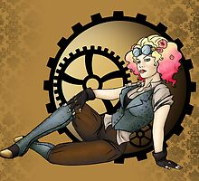 Steampunk Pilot Pinup Girl by CatAstrophe