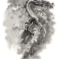 Water Wind dragon dragons sumi-e ink painting chinese zodiac five elements fantasy world art by Mariusz Szmerdt