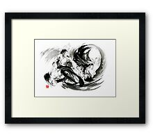 Aikido randori fight popular techniques martial arts sumi-e samurai ink painting artwork Framed Print