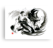 Aikido randori fight popular techniques martial arts sumi-e samurai ink painting artwork Canvas Print