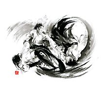 Aikido randori fight popular techniques martial arts sumi-e samurai ink painting artwork Photographic Print