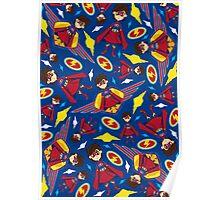 Cute Superhero Pattern Poster
