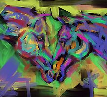 Horses Together in colour by Go van Kampen