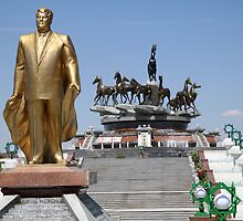 Golden Man, Nomad Horses Statues, Turkmenistan by Jane McDougall