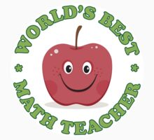 World's best match teacher, round sticker with red cartoon apple by Mhea