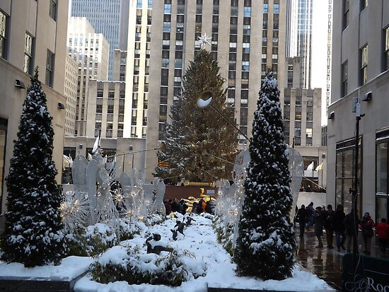 ... Center Christmas Tree, Decorations, After A Snowfall, New York City