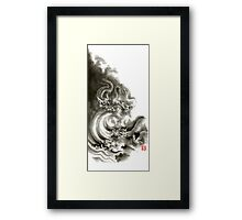 Two dragons gold fantasy dragon design sumi-e ink painting dragon art Framed Print