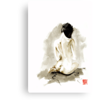 Woman geisha erotic act 女性 Japanese ink painting Canvas Print