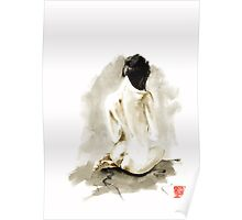 Woman geisha erotic act 女性 Japanese ink painting Poster