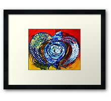 """Abstract SEA TURTLE !!  Beautiful, """"Sun Turtle / Sun Love"""" Original from J. Vincent, MUST SEE, Sharp! Framed Print"""