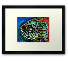 """EXCELLENT, UNIQUE ABSTRACT FISH ART from J. Vincent, """"Slight Anticipation"""" MUST SEE Framed Print"""