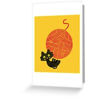 Happiness - cat and yarn Greeting Card