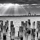Princes Pier sunrays by Vicki Moritz