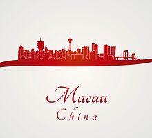 Macau skyline in red by paulrommer