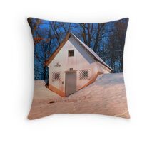 Small cottage in winter wonderland | architectural photography Throw Pillow