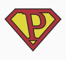 P letter in Superman style Kids Clothes