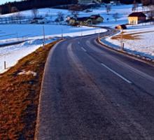 Country road through winter wonderland III | landscape photography Sticker