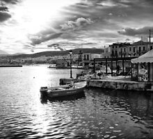 The Old Venetian Port of Rethymno in Crete by Spyridon