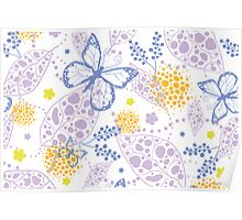 Butterfly garden pattern Poster