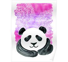 Lazy Panda on Pink & Purple Poster