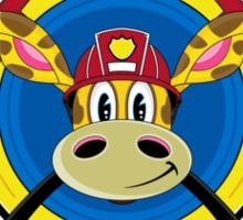 Cute Giraffe Fireman Sticker