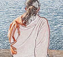 Young Woman Gazing Out to Sea by Loura Lawrence