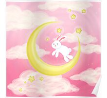 Moon Bunny Pink Poster