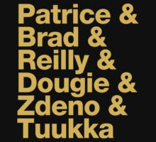 Boston Bruins 2nd Line + Goalie - Helvetica - Gold Text by msquared64
