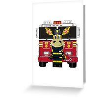 Cute Giraffe Fireman Greeting Card
