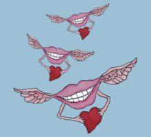 Flying Lips Bearing Hearts by Kim  Harris