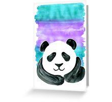 Lazy Panda on Mint & Violet Greeting Card