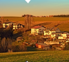 Village above the valley   landscape photography Sticker
