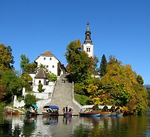 Island on Lake Bled by Clare Clarke