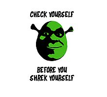 Check Yourself Before You Shrek Yourself (Black and Green) Photographic Print