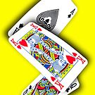Smartphone Case - Ace King Queen - Yellow  by Mark Podger
