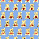 Cute Teddy Bear Blue Pattern by Boriana Giormova