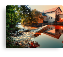 The river, a country house and reflections | waterscape photography Canvas Print