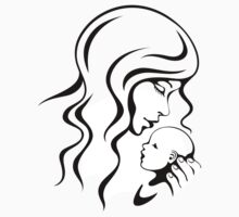 Mother tenderly kissing her baby, sticker by MheaDesign