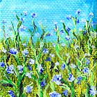 cornflowers in a field 3x2inch miniature painting by Regina Valluzzi