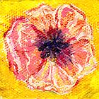 peach poppy 2x2 inch miniature painting by Regina Valluzzi