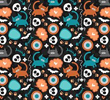 Funny Halloween pattern with kittens by lpaw