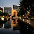 Eveningn Reflections at the War Memorial Hyde Park by Chris  Randall