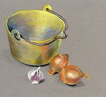 Brass Pan and Onions by Maureen Sparling