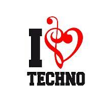 I Love Techno Music Photographic Print