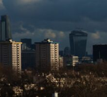 this is a huge long panorama of  London  by David Lennon
