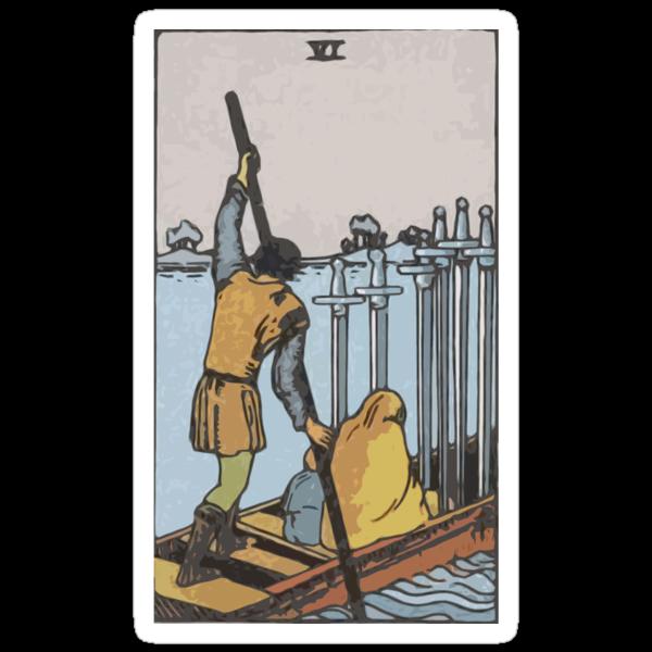 Tarot- Six of Swords by cadellin
