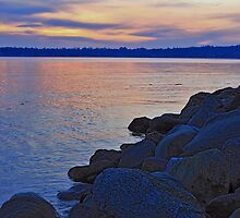 Sunset on the rocks by Rod Raglin